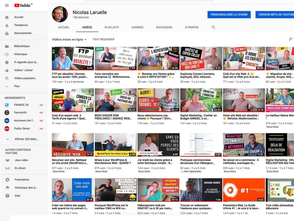 Nicolas Laruelle sur YouTube